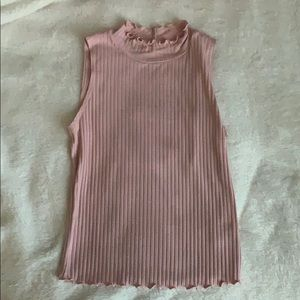 Cropped Pink Ruffled Tank